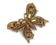 Topaz Rhinestone Butterfly Brooch Pin Vintage Insect Jewelry Germany #insectjewelry #butterflypin #topazrhinestones #germany