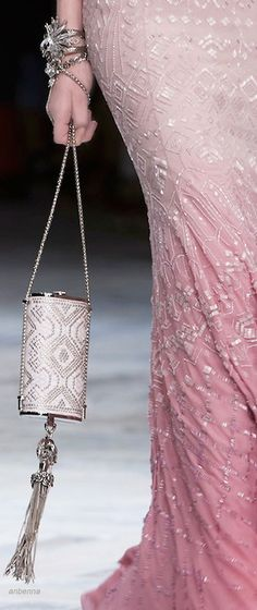 Roberto Cavalli SS 2014 - really like the ombre in pink and that purse!