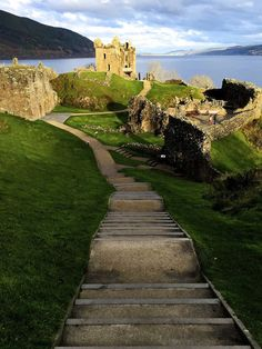 The Urquhart Castle on Loch Ness, Scotland .