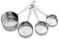Set of 4 Cuisinart Stainless Steel Measuring Cups include Storage ring. Long lasting and durable. A must-have for any cook. Glass Measuring Cup, Measuring Spoons, Must Have Kitchen Gadgets, Stainless Steel Dishwasher, Greek Recipes, Coffee Beans, Cooking Tips, Cool Things To Buy, Silver