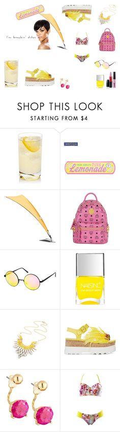 """Pink Lemonade"" by everything4love on Polyvore featuring Nicki Minaj, MCM, Quay, Nails Inc., Miu Miu and Lydell NYC"
