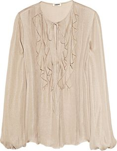 ShopStyle: L'Agence Metallic silk-georgette blouse
