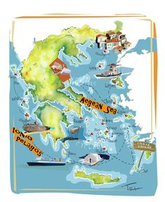 Greece map Aegean and Ionion sea -art map on Behance Old Posters, Travel Posters, Greece Map, Greece Travel, Santorini Map, Greece Drawing, European Map, Middle School History, Greece Holiday