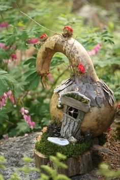 Gourd Fairy House - Could do with a gourd and polymer clay? Description from pinterest.com. I searched for this on bing.com/images