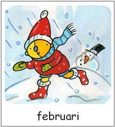 Februari | Pompom maanden Weather Seasons, Tweety, Smurfs, Doodles, Snoopy, Van, School, Winter, Fictional Characters