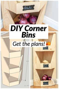 This is perfect for my small kitchen! How to build a DIY corner vegetable storage bin. It is so easy and has step by step instructions and plans. great beginner woodworking project! #AnikasDIYLife #woodworkingplans #woodworkingproject Scrap Wood Projects, Woodworking Projects That Sell, Woodworking For Kids, Diy Pallet Projects, Woodworking Plans, Corner Storage, Storage Bins, Corner Pantry, Corner Shelves