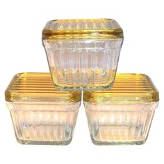Amber Glass Lid On Clear Glass Refrigerator Dish
