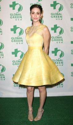 Too sweet yellow knee length dress. emily rossum always so put together!