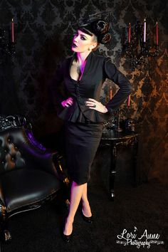 Vintage Goth Pinup Capsule Collection- Morgana Jacket in Twill Sateen
