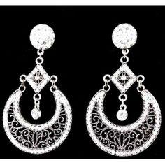 White Filigree and Rhinestone Earrings