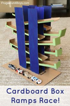 Cardboard Box Ramps Race - Use cardboard to build this back and forth track for Hot Wheels or Matchbox cars. There are two tracks so the cars can race. by danielle Matchbox Autos, Matchbox Cars, Voitures Hot Wheels, Diy For Kids, Crafts For Kids, Carton Diy, Diy Pour Enfants, Cardboard Box Crafts, Cardboard Castle