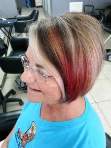 PAT'S NEWEST COLOR COMBINATION. LOWLIGHTS ARE SCHWARZKOPF 6-12, HIGHLIGHTS BACK 10VOL FRONT 30VOL, RED BLOCK/SLICES ARE MIXTURE OF SCHWARZKOPF HIGHLIFT L-00 AND L-88