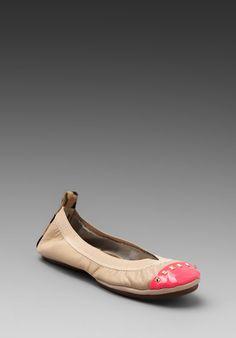 Yosi Samra Leather Flat in Neon Pink/Leopard/Nude