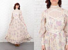 Vintage 70s Gunne Sax Dress Crochet Lace Victorian Cutout Boho Festival XS S 10676 lace dress victorian dress cutout dress boho dress