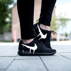 NIKE Women's Shoes - Nike Roshe Run Triple Black with Custom White Candy Drip Swoosh Paint - Find deals and best selling products for Nike Shoes for Women Nike Free Shoes, Nike Shoes Outlet, Running Shoes Nike, Toms Outlet, Running Sneakers, Cute Shoes, Women's Shoes, Me Too Shoes, Shoe Boots