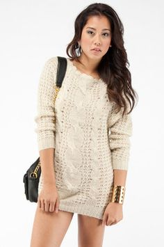 Long Cable Knit Sweater $31 at www.tobi.com    mmm this would be great with some tights and my boots. :D