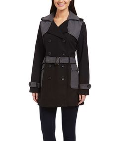 c8aad027ca8 Another great find on  zulily! Black  amp  Charcoal Belted Coat   zulilyfinds 17