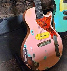 Check out the work they're doing over at this Southland Les Paul Jr. In shell pink Used Guitars, Unique Guitars, Gibson Guitars, Custom Guitars, Vintage Guitars, Guitar Shop, Cool Guitar, Gibson Les Paul, Pink Guitar