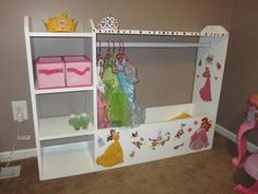 I want to make this!  DIY Furniture Plan from Ana-White.com  Creating a dress up center for your little princess (or prince) is easy with these straight forward plans. Features a large open base area perfect for accessories and a hanging bar for outfits.