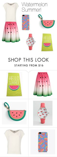 """Watermelon Summer!"" by chessmatilda ❤ liked on Polyvore featuring interior, interiors, interior design, home, home decor, interior decorating, J.Crew, ASOS, Alberto Biani and The Small Print."