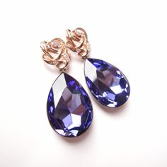 Angelina Jolies Inspired Extra Large Swarovski Crystal Tanzanite Purple Earrings with Gold Plated 925 Sterling Silver Posts by ParisOhLaLa, $59.99