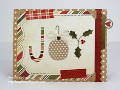 Christmas card from patterned paper and washi tape ... JOY formed with candy cane, ornament and holly flourish ...