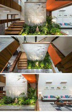 Best Home Plans Modern Stairs Ideas Interior Stairs, Interior Architecture, Interior And Exterior, Modern Interior, Interior Design, Courtyard Design, Modern Courtyard, Courtyard House Plans, Plafond Design