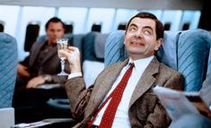 Rowan Atkinson as Mr Bean Bean The Movie, Airline Humor, John Hannah, Kristin Scott Thomas, Mr Bean, Hugh Grant, Rowan, Biceps