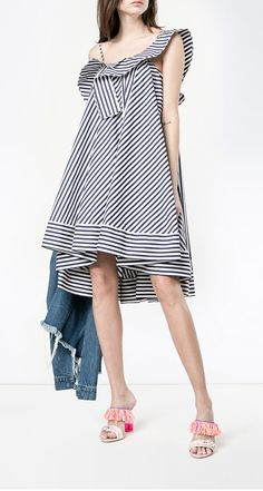 MSGM stripe asymmetric dress, shop the latest new arrivals at Farfetch now.