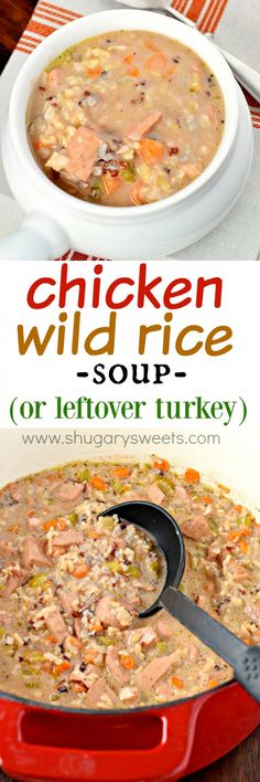 Thick, creamy and hearty, this Chicken Wild Rice Soup: the perfect comfort food recipe for dinner tonight! Also great with leftover turkey!