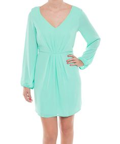 Love this Mint Gathered V-Neck Dress by Coveted Clothing on #zulily! #zulilyfinds