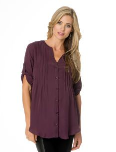 Convertible Sleeve Button Front Maternity Blouse