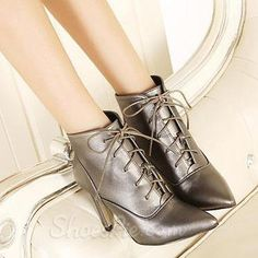 Deluxe Lace-up Pointed Toe Stiletto Heels Ankle Boots