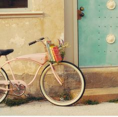 Vintage Pink Bike Print by Mandy Lynne