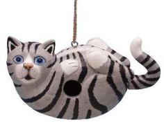 Grey Tabby Cat Wooden Birdhouse