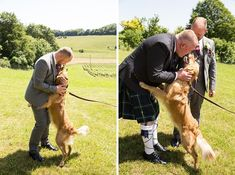 pets at weddings inspiration - Two grooms and a dog wedding photos. Beautiful golden retriever pup with his two dads at this gorgeous gay wedding in a vineyard in Hampshire Dog Wedding, Woodland Wedding, Summer Wedding, Outdoor Wedding Inspiration, Wedding Ideas, London Photography, Wedding Photography, Ceilidh Dance, Relaxed Wedding
