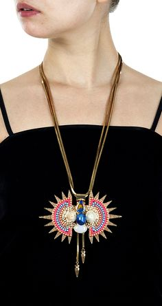 Gold plated pendant with spray chain beads available only at Pernia's Pop-Up Shop.