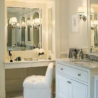 Jan Gleysteen Architects - bathrooms - master bath, master bathroom, bathroom nook, bathroom alcove, inset mirror, vanity mirror, built in v...