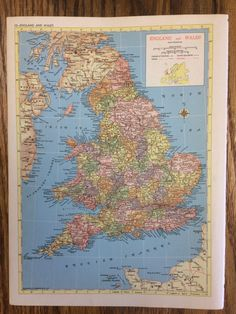 1955 England & Wales or Europe Large Map - Hammond's New Supreme World Atlas - Vintage by PassinThruTime on Etsy