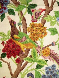 Whipporwill Summer:Richloom Floral vine print fabric for dapery or light use upholstery. up the roll repeat. Drapery Panels, Drapery Fabric, Fabric Decor, Linen Fabric, Decoupage, Textiles, Floral Fabric, Bird Fabric, Floral Curtains