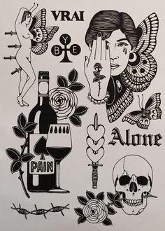 November 2015 - Commission The most personal commission. Kritzelei Tattoo, Wine Tattoo, Bottle Tattoo, Tattoo Sketches, Tattoo Drawings, Body Art Tattoos, Sleeve Tattoos, Arabic Tattoos, Black Tattoos