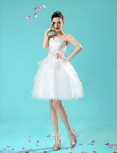 Ivory A-line Flower Pleated Bride's Wedding Dress  - $124.99