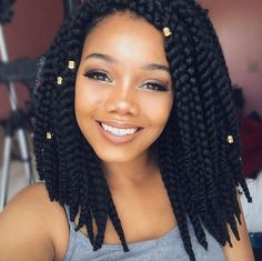 45 Easy Hairstyles for Black Hair : Individual Braids With Beads Medium Length Thick Box Braids Thick Box Braids, Short Box Braids, Bob Braids, Blonde Box Braids, Twist Braids, Short Wigs, Braids Easy, Box Braids Medium Length, Large Box Braids