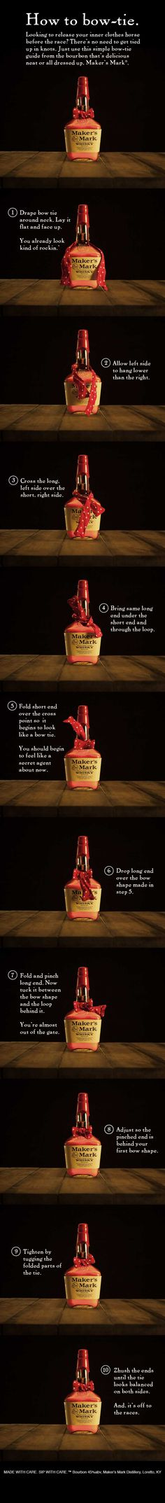 Looking to release your inner clothes horse before the race? There's no need to get tied up in knots. Just use this simple bow-tie guide from the bourbon that's delicious neat or all dressed up. #MakeItDelicious