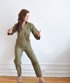army green jumpsuit . military parachuter .extra small.xs by DOTTO, $42.00