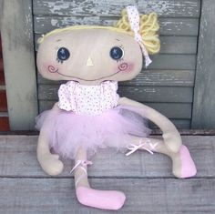 Primitive Ballerina Cloth doll, Raggedy Doll, Handmade finished doll, dancing class doll