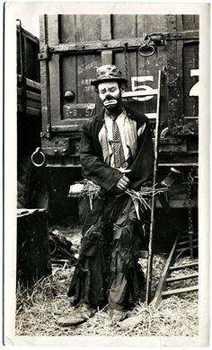 Robert D. Good, Allentown, PA. Emmett Kelly, Ringling Brothers Barnum and Baily Circus, 1943. Gelatin Silver Print Snapshot. Photographer's stamp on verso; signed and dated in ink on verso by Kelly