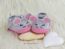 Häkelanleitung - Baby-Schuhe 'Mäuschen' in 3 Größen