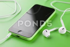 Stock photo tambov, russian federation - october 2013 apple iphone green color with new apple earpods on green background. iphone is produced by apple computer, inc. Iphone 5c Green, Zeiss, Apple Iphone, Vectors, Posters, Stock Photos, Food, Eten, Poster