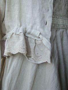 Linen and lace. Love it my favorite clothing line. I want my summer clothes summer outfit Color Combo. Estilo Fashion, Boho Fashion, Vintage Fashion, Look Boho, Fashion Details, Fashion Design, Linens And Lace, Linen Dresses, Refashion